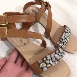 Shoes - NWOT Brown Jeweled Sandals 7